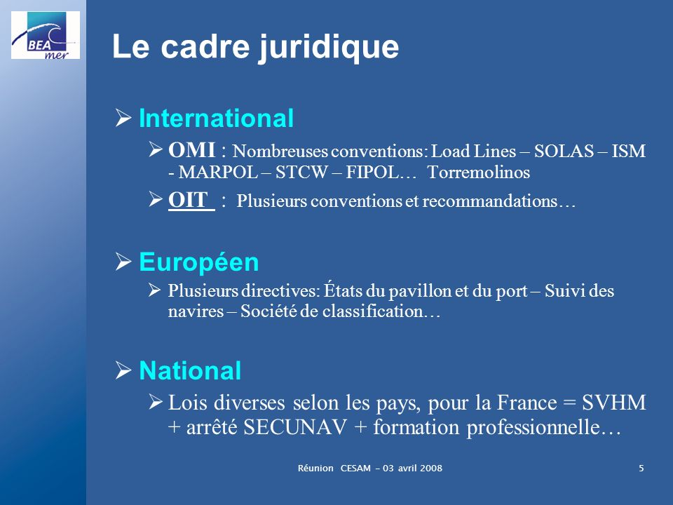 Le cadre juridique International Européen National