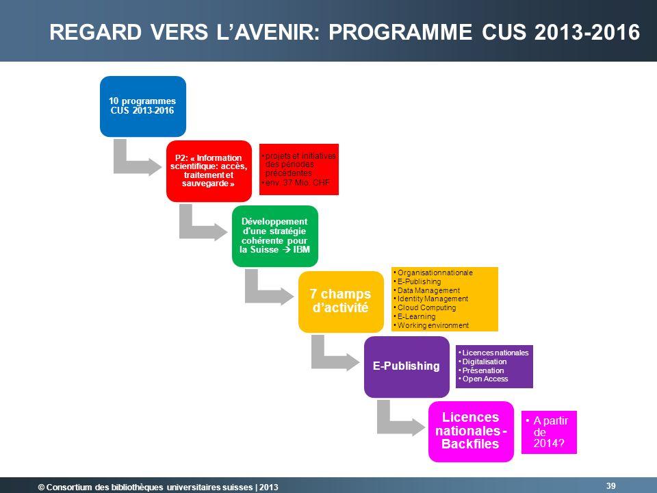 Regard vers l'avenir: Programme CUS 2013-2016