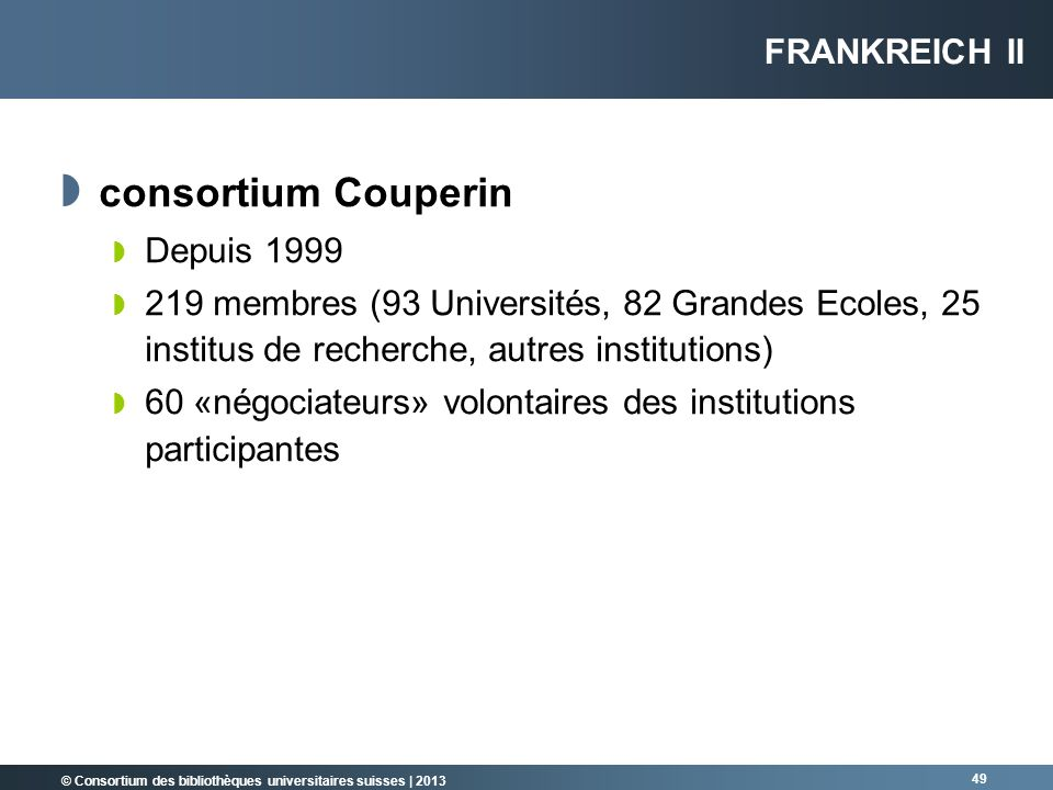 consortium Couperin Frankreich II Depuis 1999