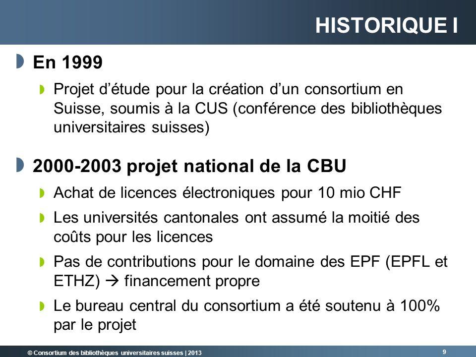 Historique I En 1999 2000-2003 projet national de la CBU