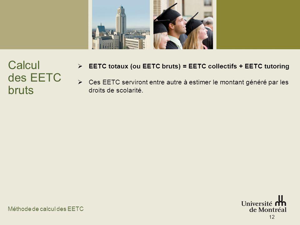 Calcul des EETC bruts. EETC totaux (ou EETC bruts) = EETC collectifs + EETC tutoring.