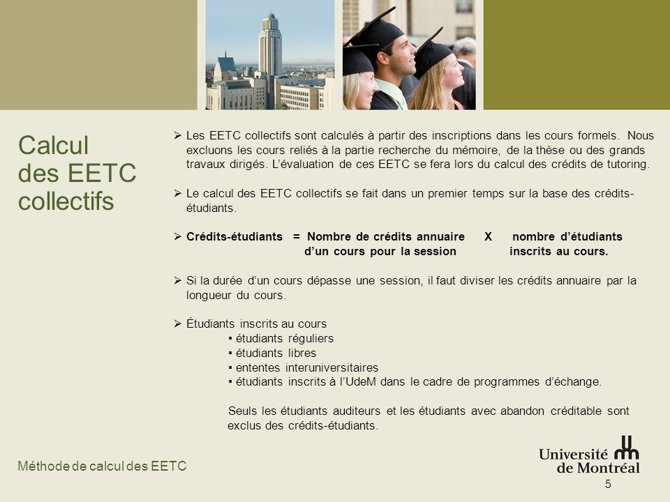 Calcul des EETC collectifs Méthode de calcul des EETC