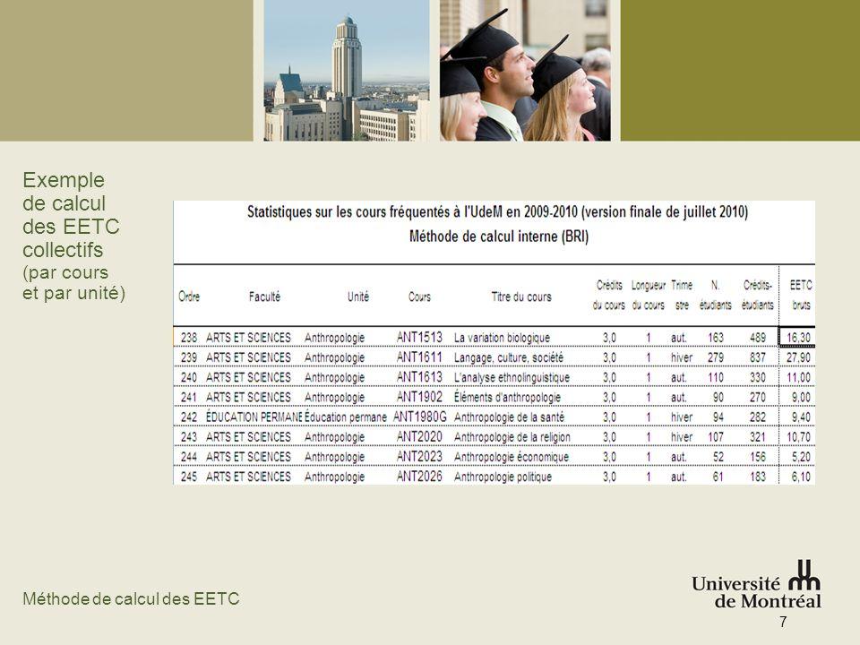 Exemple de calcul des EETC collectifs (par cours et par unité)