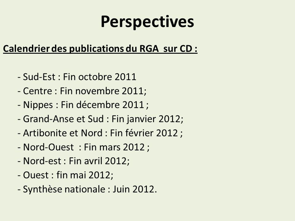 Perspectives Calendrier des publications du RGA sur CD :