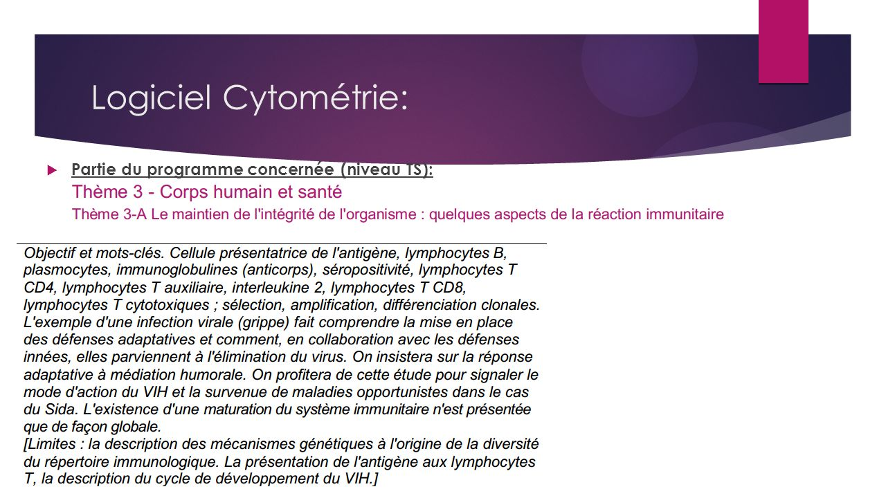 Logiciel Cytométrie: Partie du programme concernée (niveau TS):