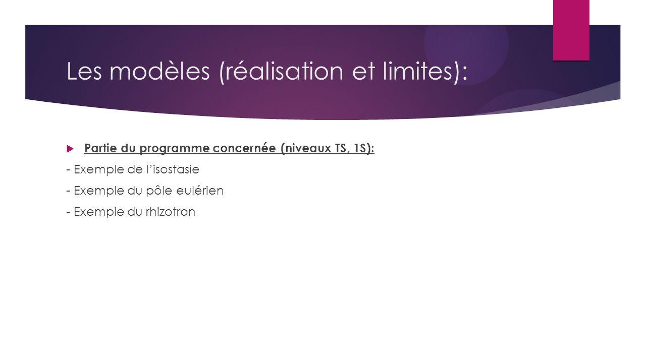 Les modèles (réalisation et limites):