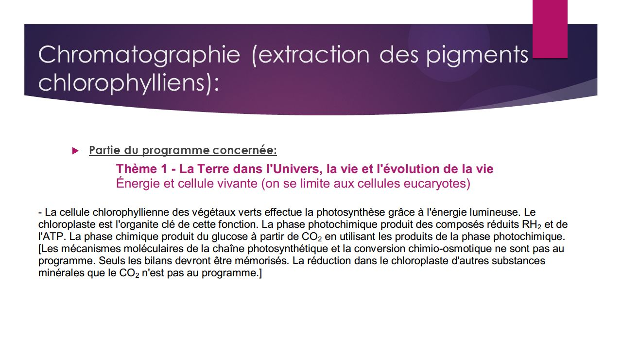 Chromatographie (extraction des pigments chlorophylliens):