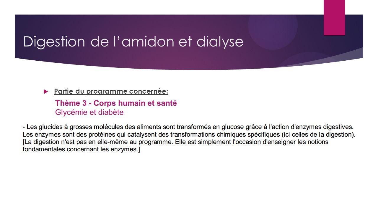 Digestion de l'amidon et dialyse