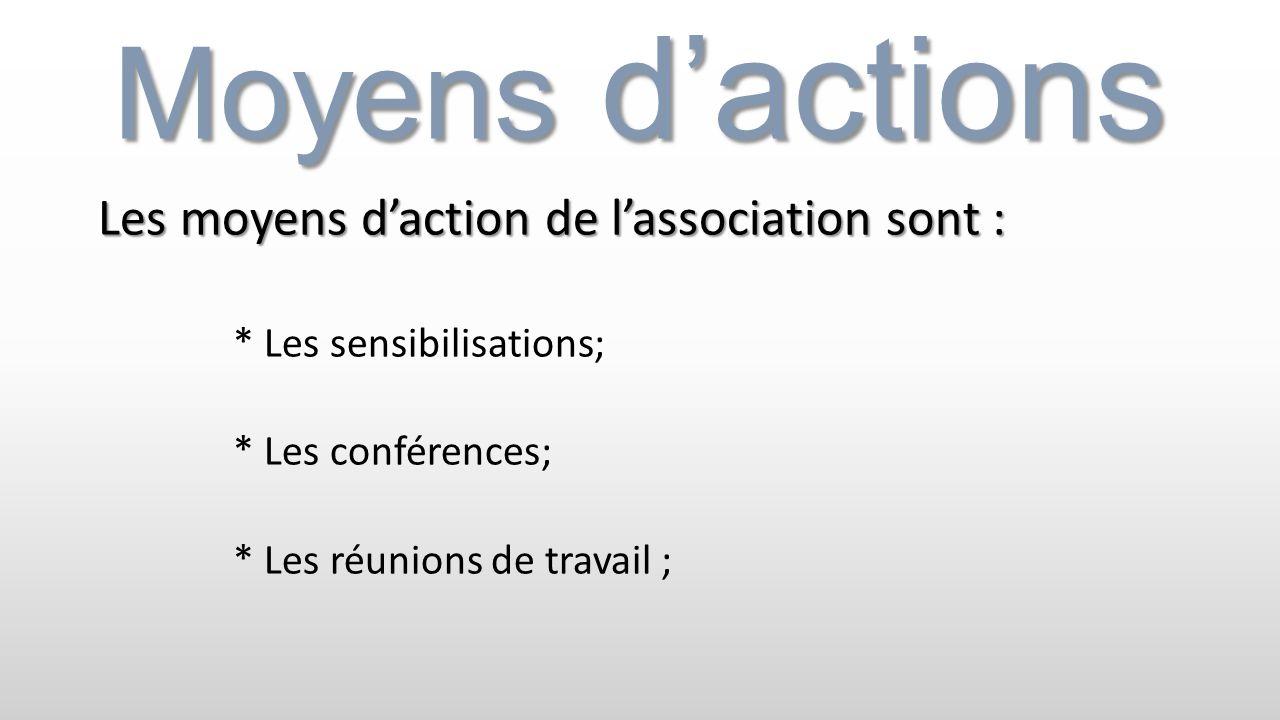 Moyens d'actions Les moyens d'action de l'association sont :