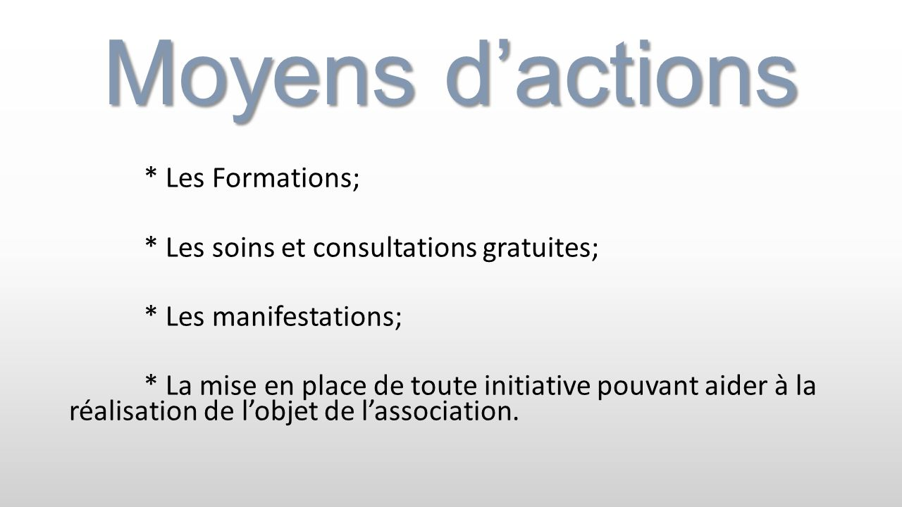Moyens d'actions