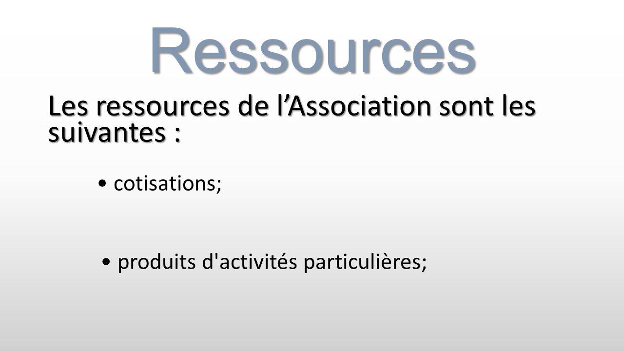 Ressources Les ressources de l'Association sont les suivantes :