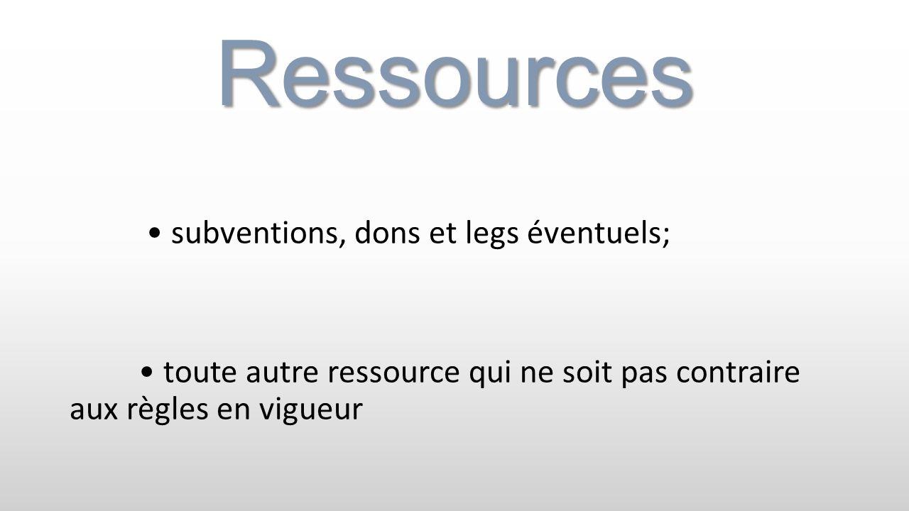Ressources • subventions, dons et legs éventuels; • toute autre ressource qui ne soit pas contraire aux règles en vigueur