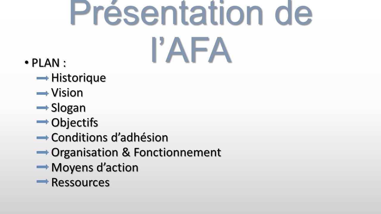 Présentation de l'AFA PLAN : Historique Vision Slogan Objectifs