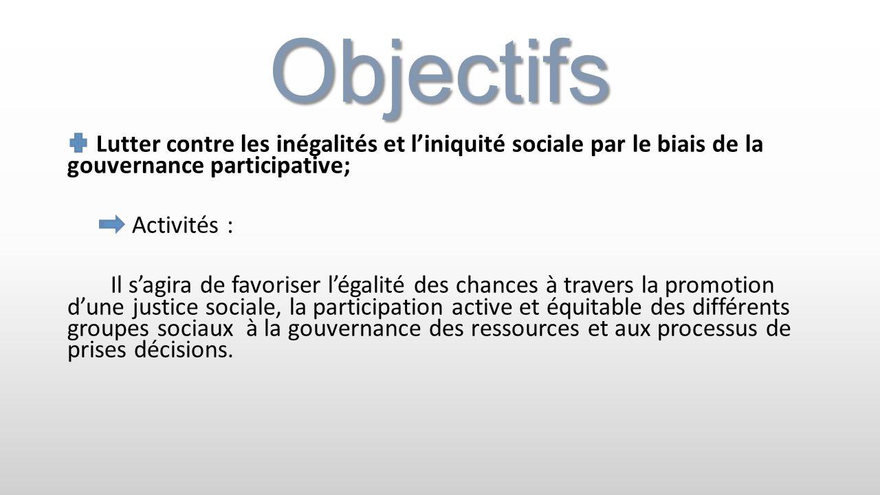 Objectifs Lutter contre les inégalités et l'iniquité sociale par le biais de la gouvernance participative;