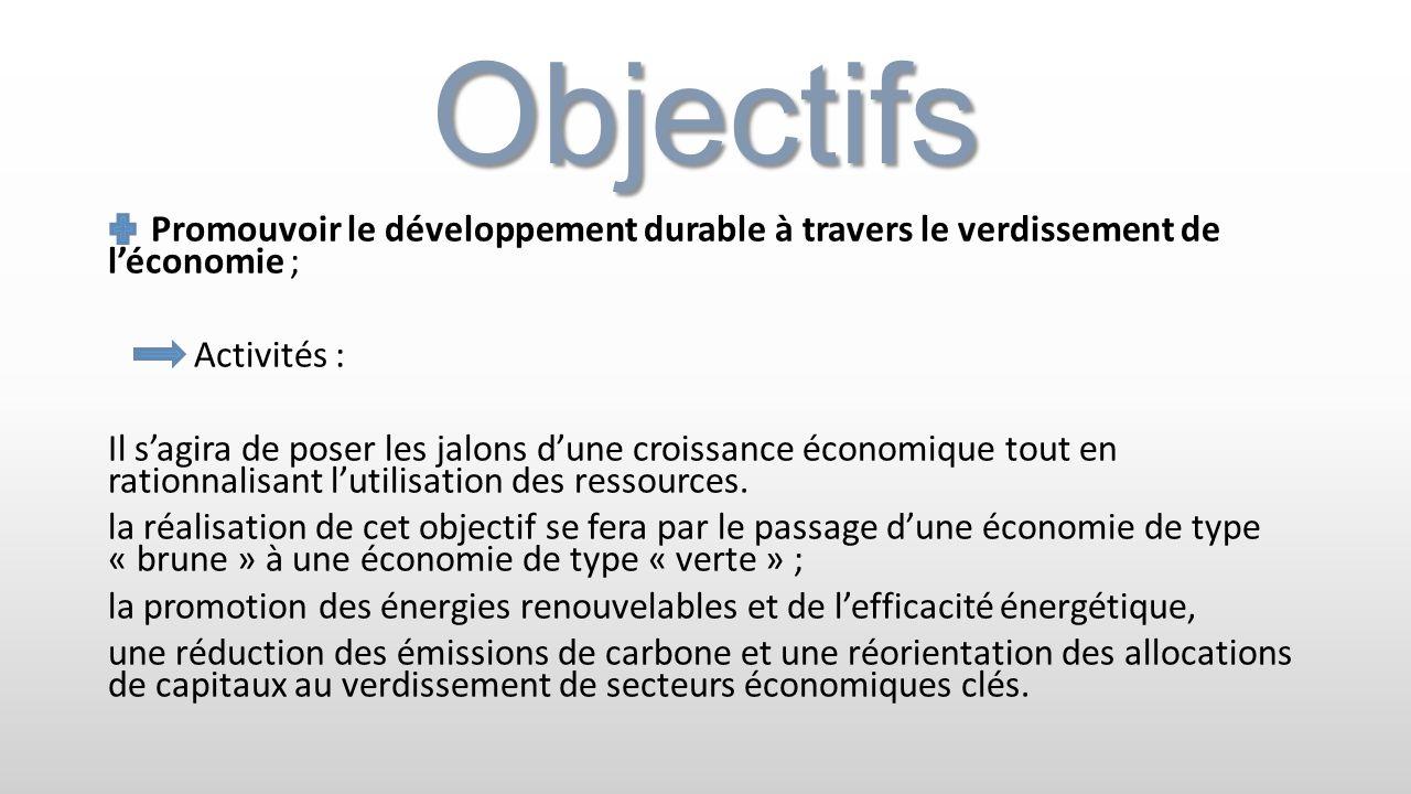 Objectifs Promouvoir le développement durable à travers le verdissement de l'économie ; Activités :