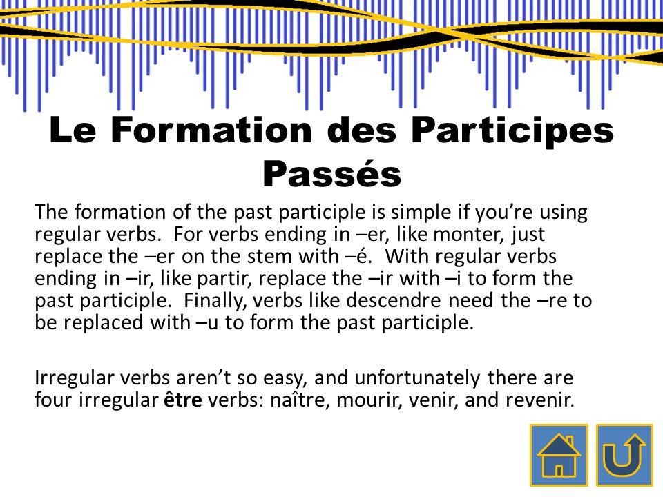 Le Formation des Participes Passés