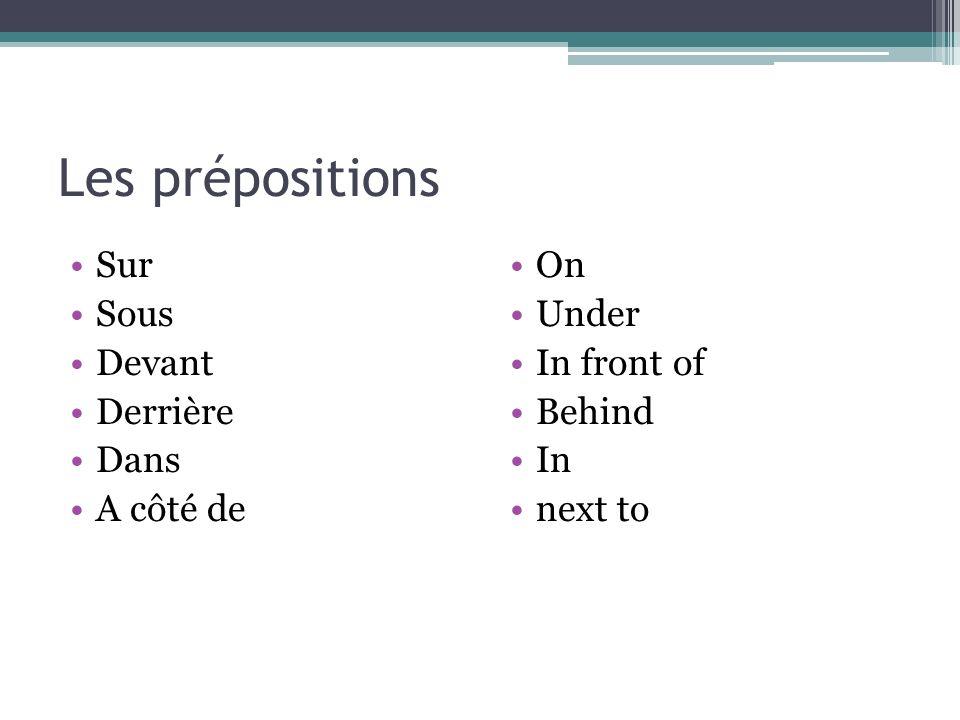 Les prépositions Sur Sous Devant Derrière Dans A côté de On Under