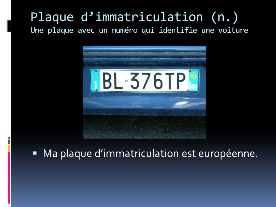 Plaque d'immatriculation (n