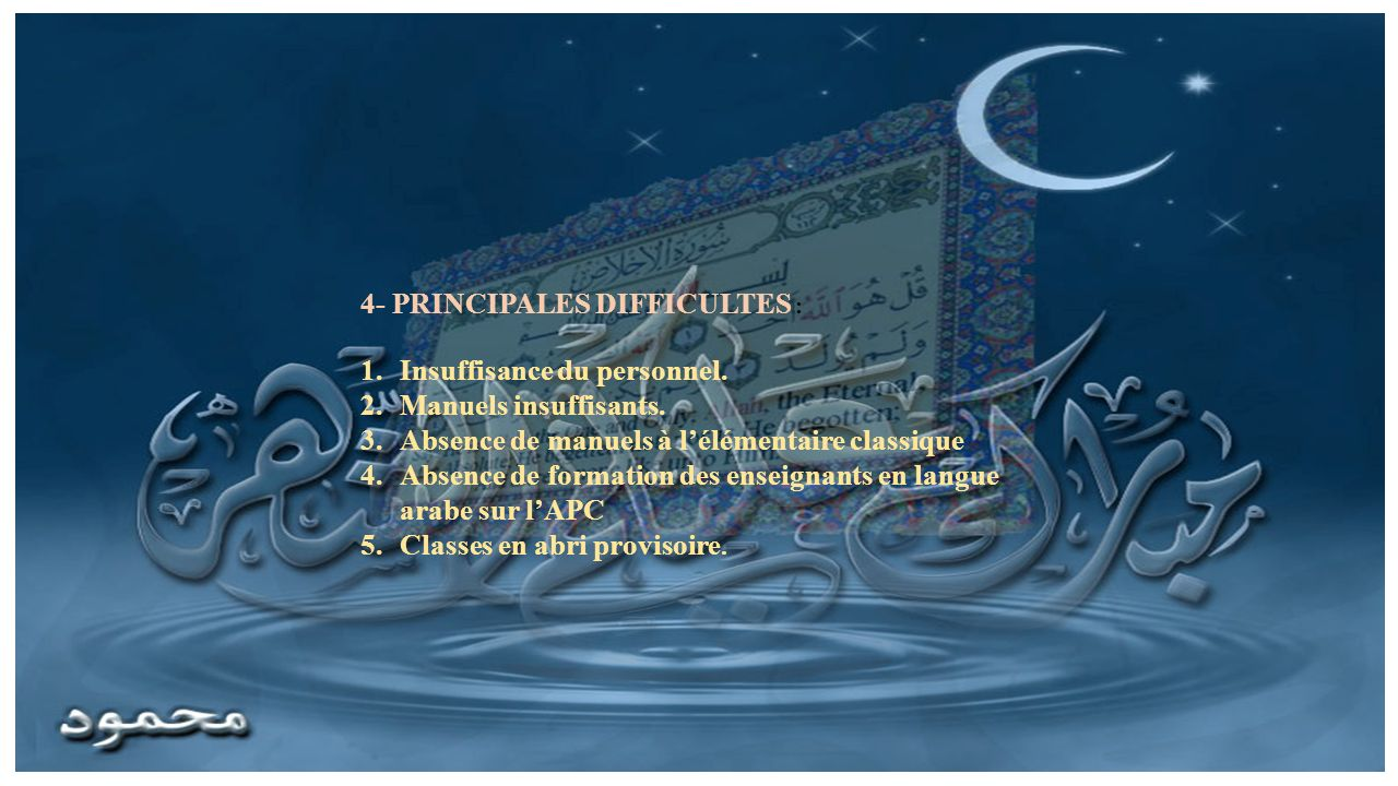 4- PRINCIPALES DIFFICULTES : Insuffisance du personnel.