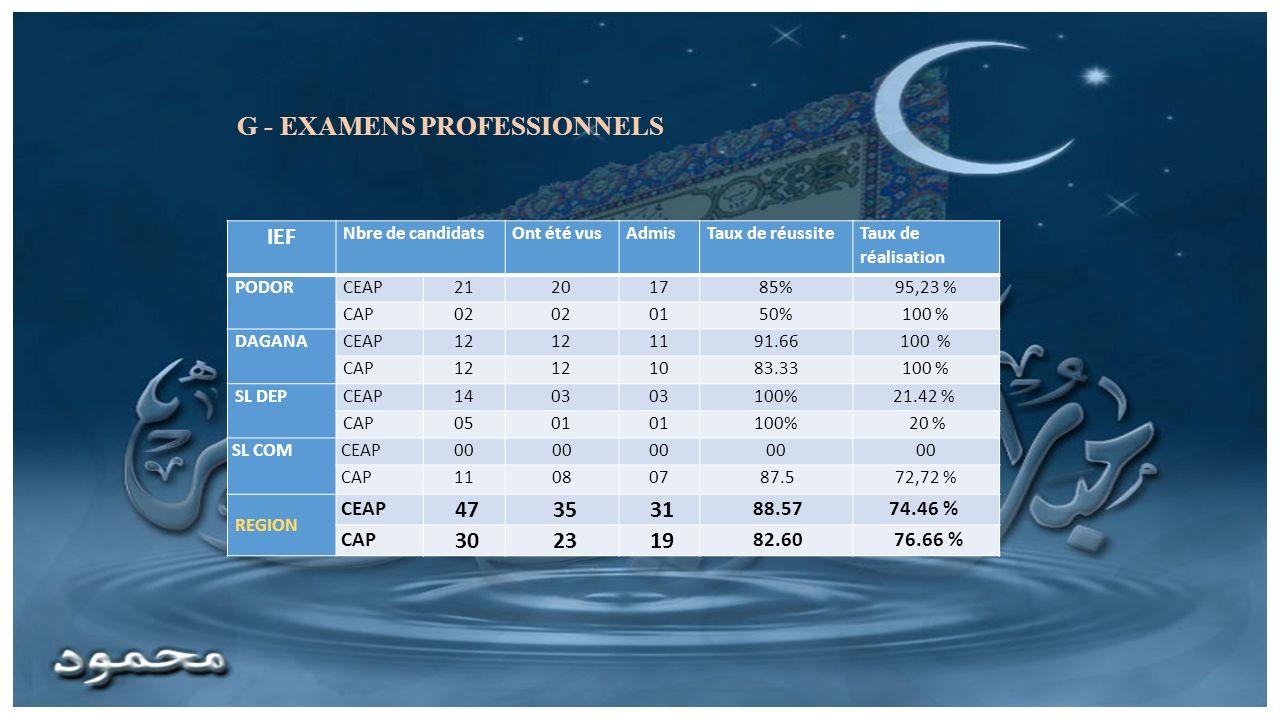 G - EXAMENS PROFESSIONNELS