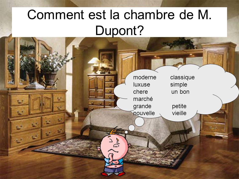 Comment est la chambre de M. Dupont