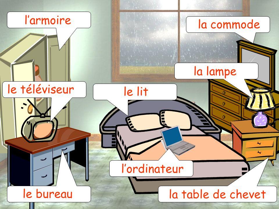 l'armoire la commode la lampe le téléviseur le lit l'ordinateur le bureau la table de chevet