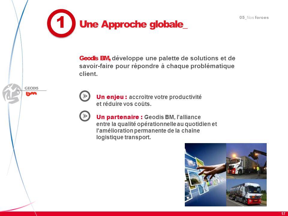 105_Nos forces. Une Approche globale_. Geodis BM, développe une palette de solutions et de savoir-faire pour répondre à chaque problématique client.