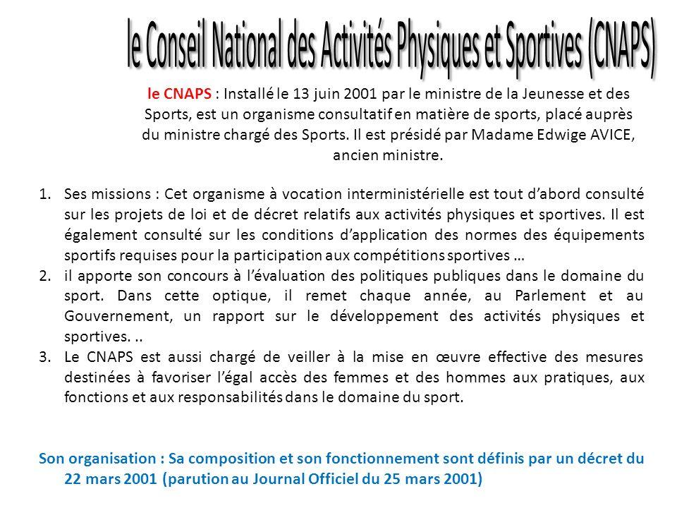 le Conseil National des Activités Physiques et Sportives (CNAPS)