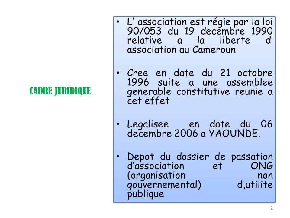 L' association est régie par la loi 90/053 du 19 decembre 1990 relative a la liberte d' association au Cameroun