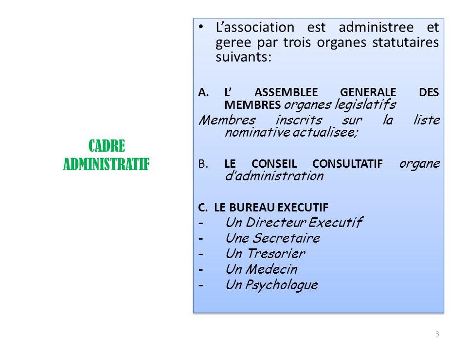 L'association est administree et geree par trois organes statutaires suivants: