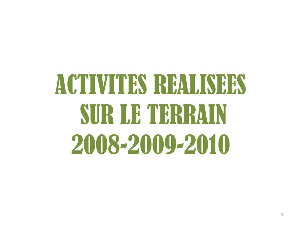 ACTIVITES REALISEES SUR LE TERRAIN 2008-2009-2010