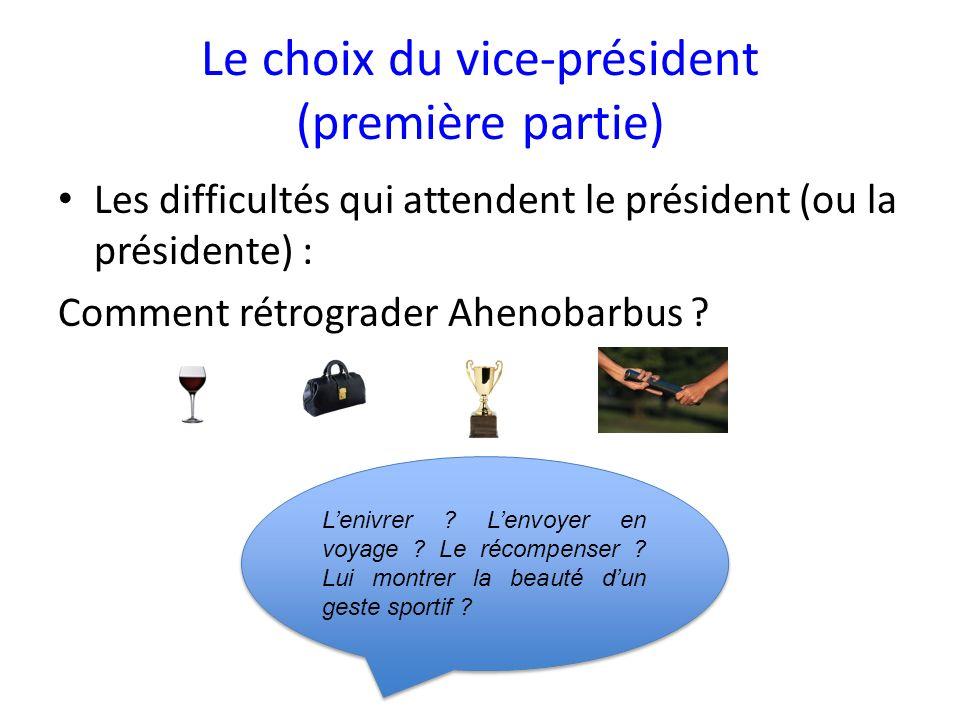Le choix du vice-président (première partie)