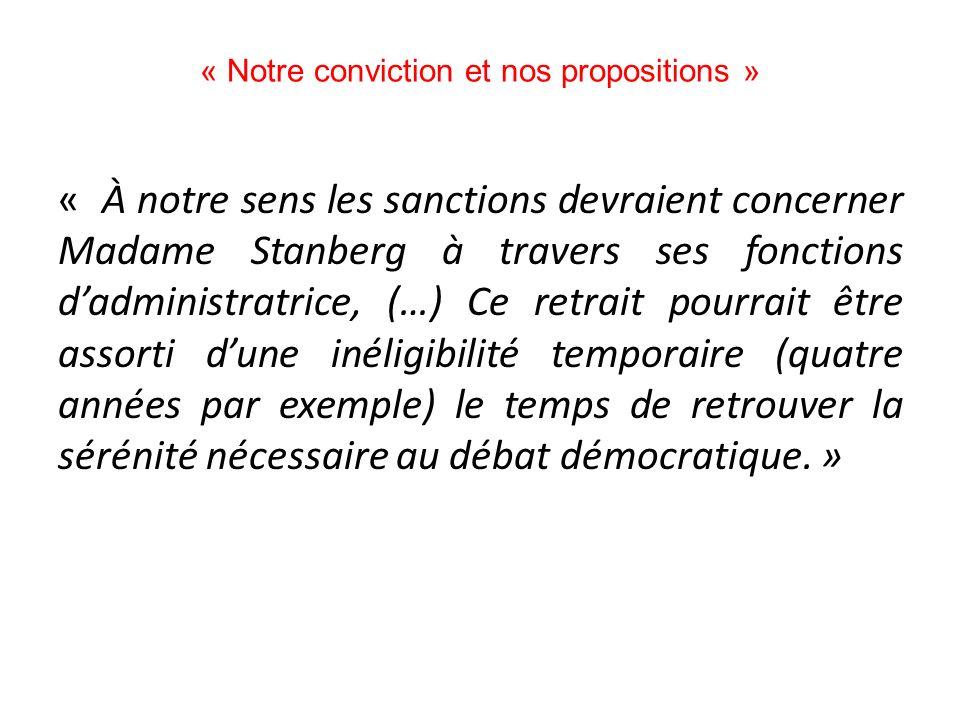 « Notre conviction et nos propositions »