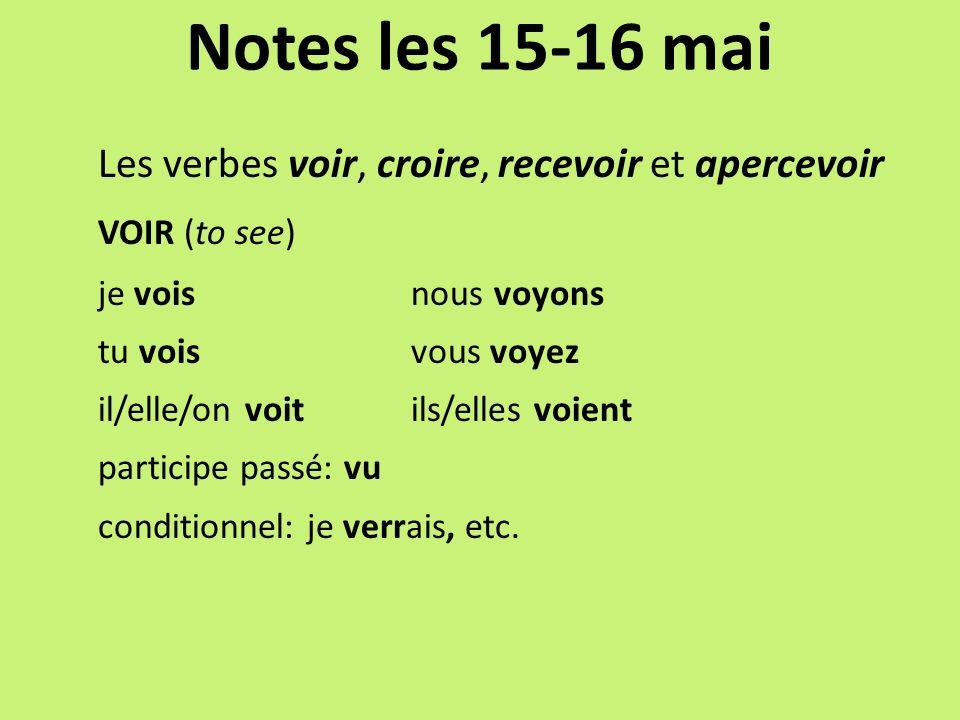 Notes les 15-16 mai Les verbes voir, croire, recevoir et apercevoir