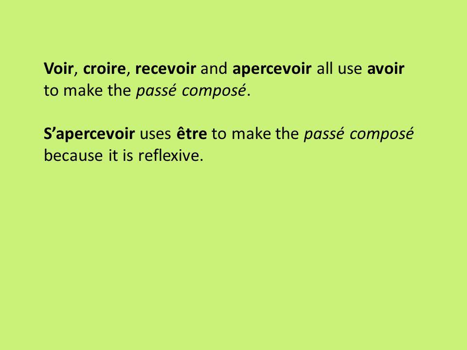 Voir, croire, recevoir and apercevoir all use avoir to make the passé composé.