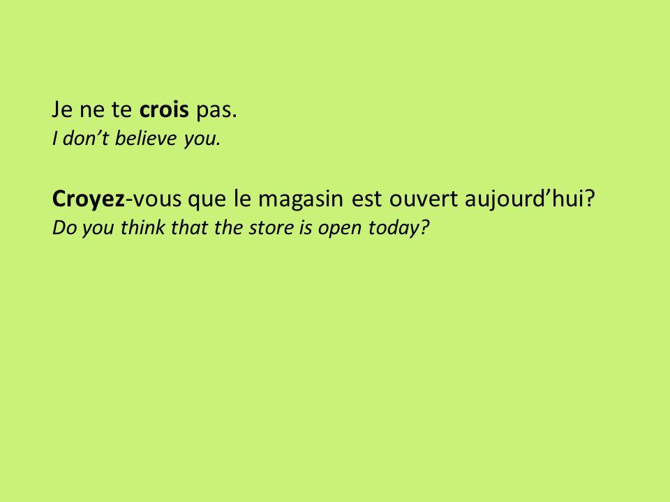 Croyez-vous que le magasin est ouvert aujourd'hui