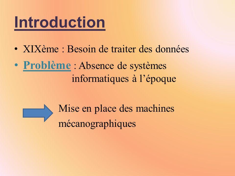 Introduction Problème : Absence de systèmes informatiques à l'époque