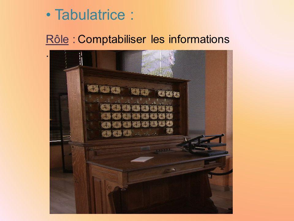 Tabulatrice : Rôle : Comptabiliser les informations .
