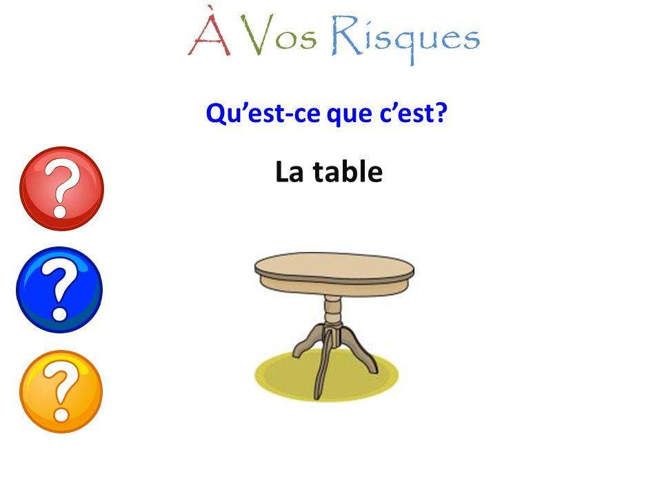 À Vos Risques Qu'est-ce que c'est La table