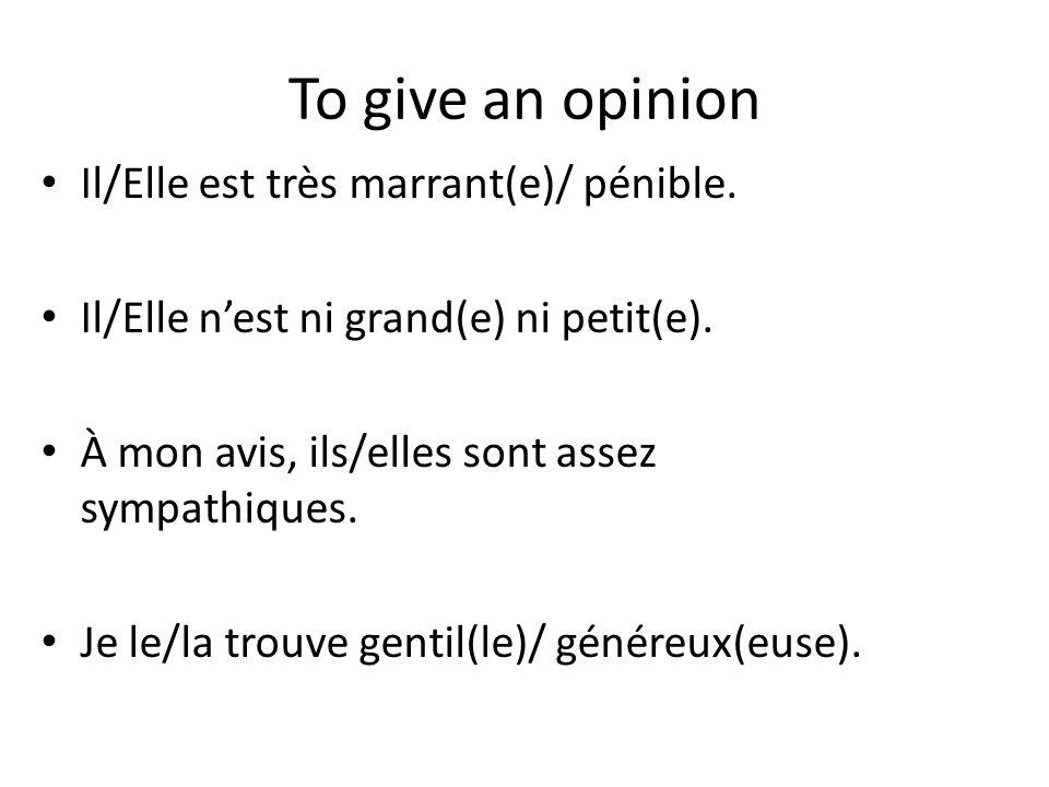 To give an opinion Il/Elle est très marrant(e)/ pénible.