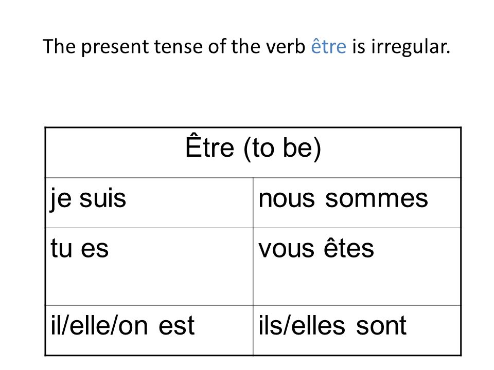 The present tense of the verb être is irregular.