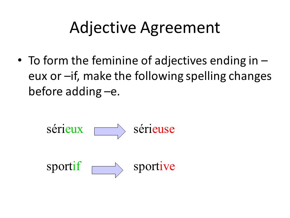 Adjective Agreement To form the feminine of adjectives ending in –eux or –if, make the following spelling changes before adding –e.