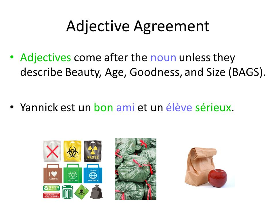 Adjective Agreement Adjectives come after the noun unless they describe Beauty, Age, Goodness, and Size (BAGS).