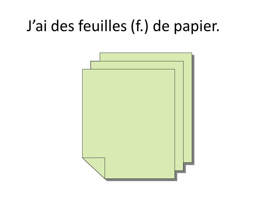 J'ai des feuilles (f.) de papier.
