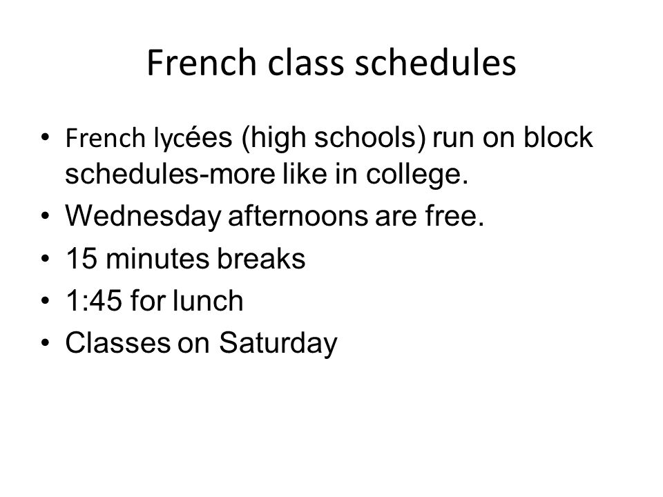 French class schedules