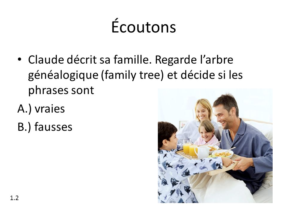 Écoutons Claude décrit sa famille. Regarde l'arbre généalogique (family tree) et décide si les phrases sont.