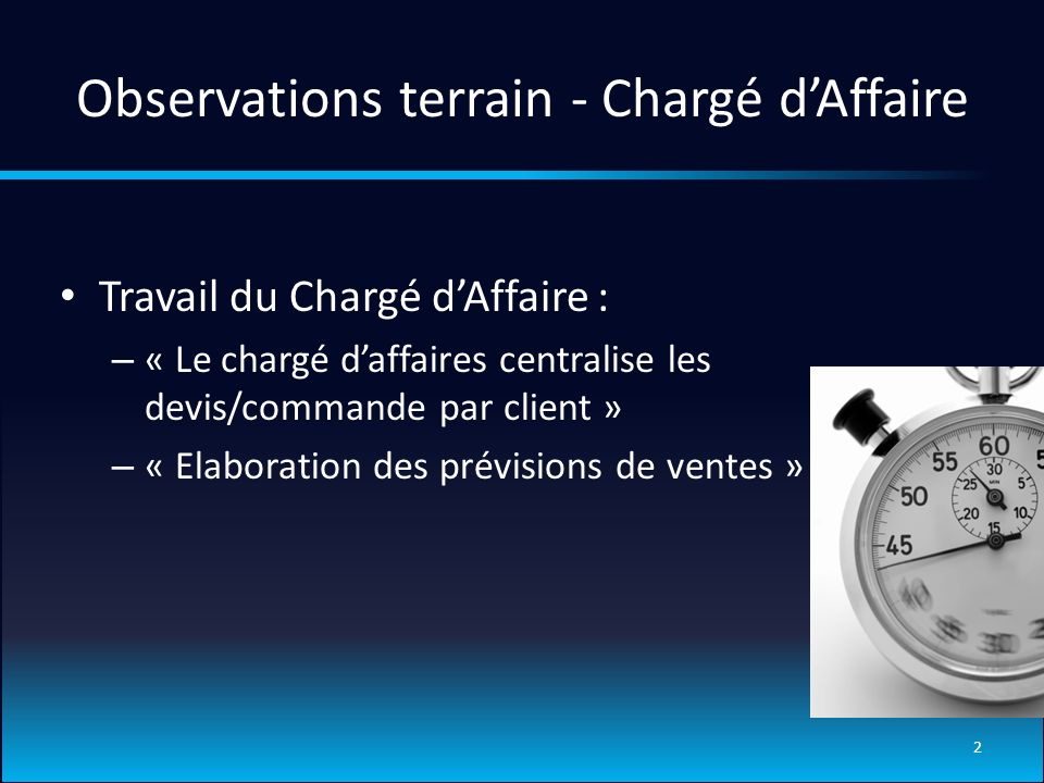 Observations terrain - Chargé d'Affaire