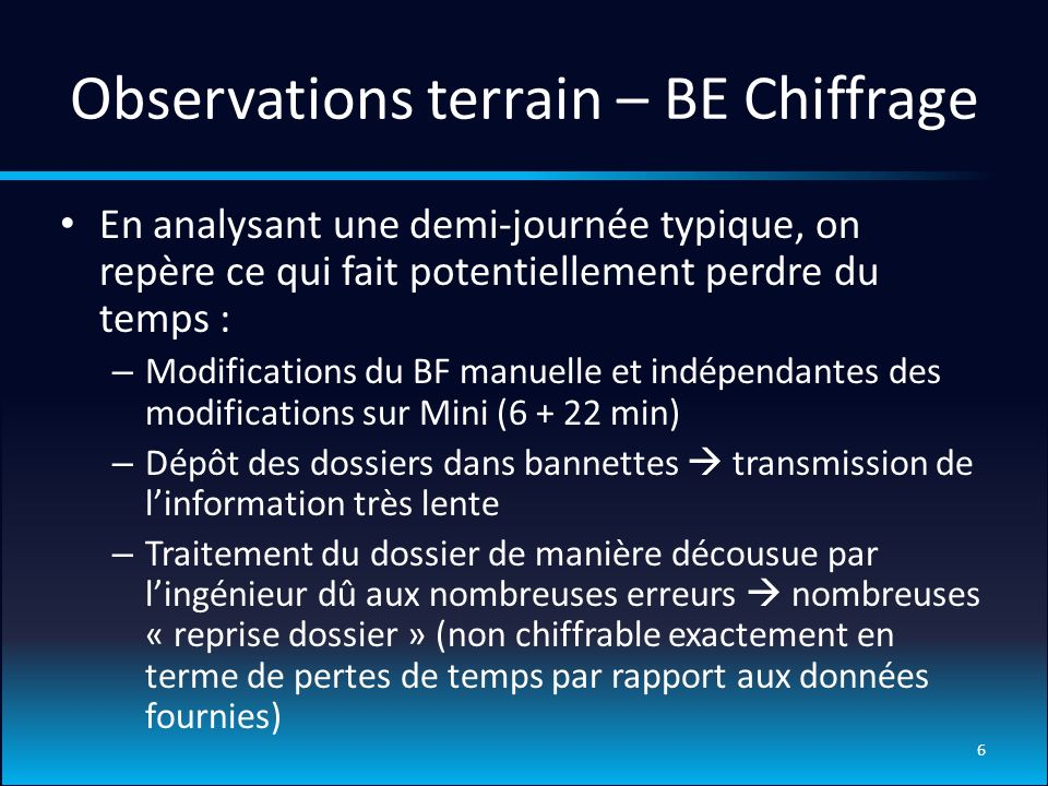 Observations terrain – BE Chiffrage
