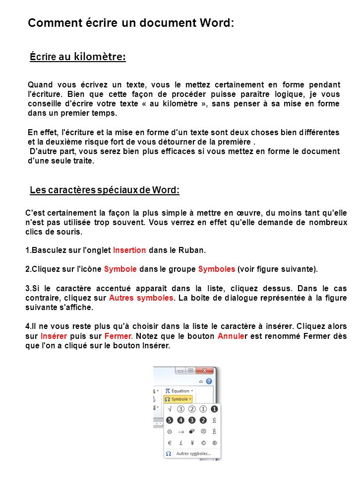 Comment écrire un document Word: