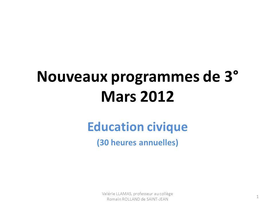 Nouveaux programmes de 3° Mars 2012
